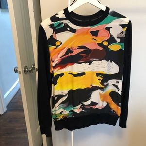 COS silk-front printed blouse sz S